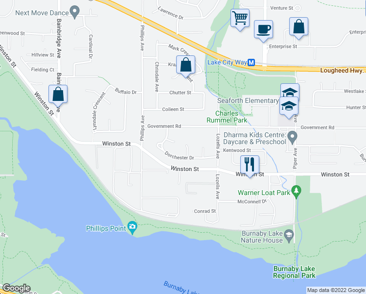 map of restaurants, bars, coffee shops, grocery stores, and more near 3831 Epping Court in Burnaby