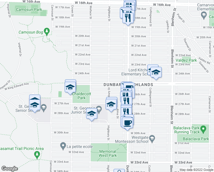 map of restaurants, bars, coffee shops, grocery stores, and more near 3804 West King Edward Avenue in Vancouver