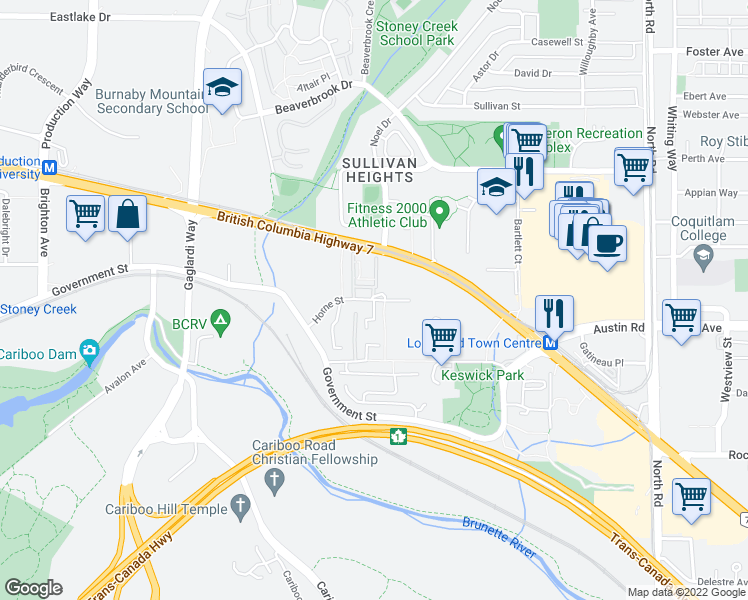 map of restaurants, bars, coffee shops, grocery stores, and more near 9101 Horne Street in Burnaby