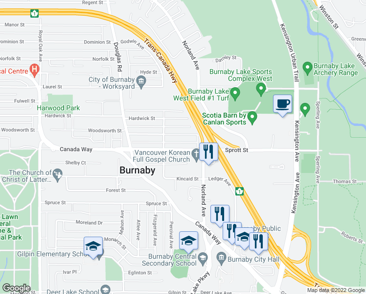 map of restaurants, bars, coffee shops, grocery stores, and more near 6013 Sprott Street in Burnaby