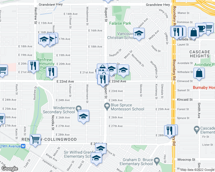 map of restaurants, bars, coffee shops, grocery stores, and more near 3312 East 23rd Avenue in Vancouver
