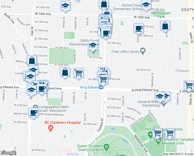 map of restaurants, bars, coffee shops, grocery stores, and more near 3987 Tupper Street in Vancouver