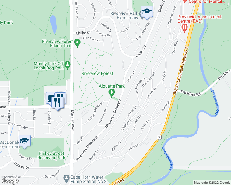 map of restaurants, bars, coffee shops, grocery stores, and more near 491 Alouette Drive in Coquitlam