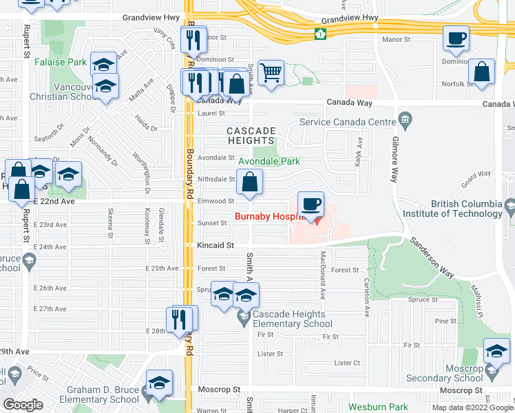 map of restaurants, bars, coffee shops, grocery stores, and more near 3816 Elmwood Street in Burnaby