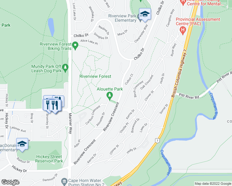 map of restaurants, bars, coffee shops, grocery stores, and more near 2746 Cultus Avenue in Coquitlam