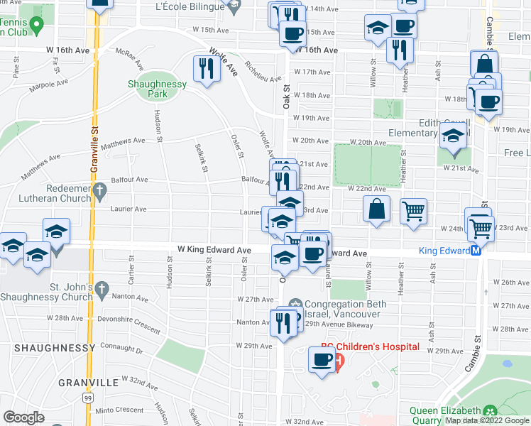 map of restaurants, bars, coffee shops, grocery stores, and more near 1050 Laurier Avenue in Vancouver