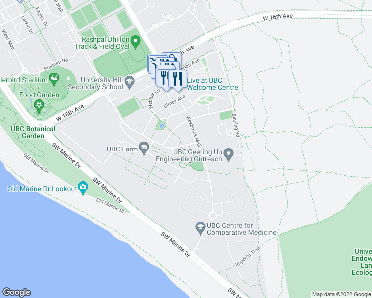 map of restaurants, bars, coffee shops, grocery stores, and more near 3581 Ross Drive in Vancouver