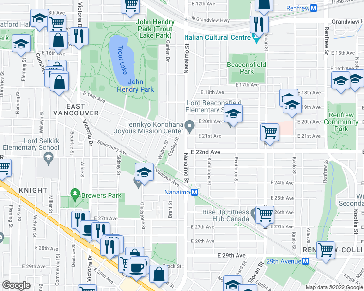 map of restaurants, bars, coffee shops, grocery stores, and more near 3747 Nanaimo Street in Vancouver