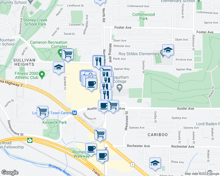 map of restaurants, bars, coffee shops, grocery stores, and more near 530 Whiting Way in Coquitlam