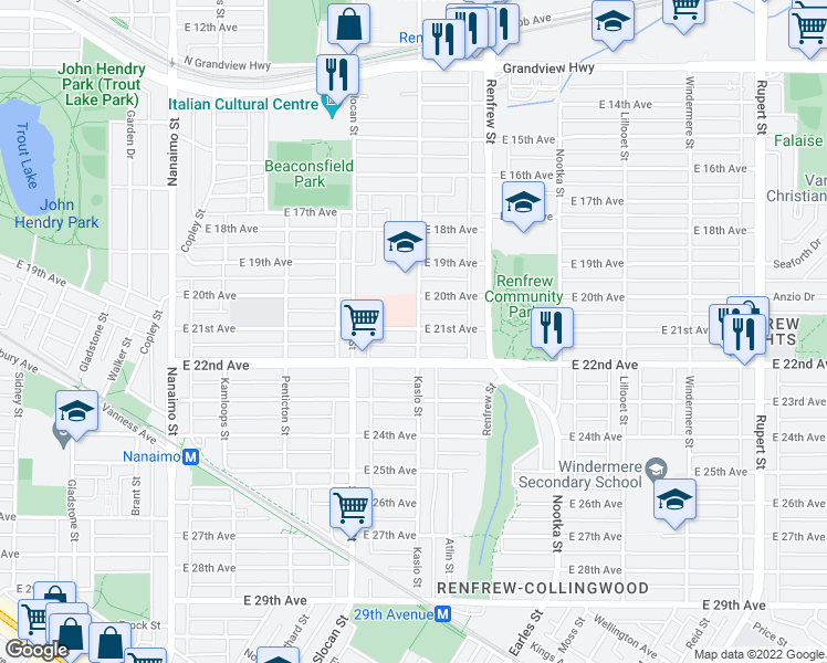 map of restaurants, bars, coffee shops, grocery stores, and more near 2796 East 21st Avenue in Vancouver