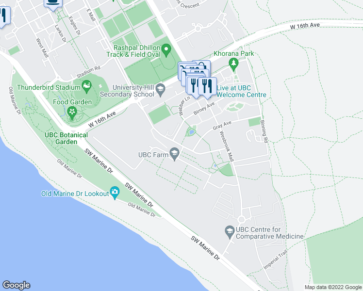 map of restaurants, bars, coffee shops, grocery stores, and more near 3483 Ross Drive in Vancouver