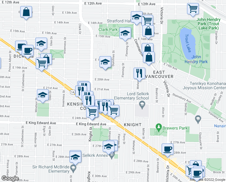 map of restaurants, bars, coffee shops, grocery stores, and more near 3708 Dumfries Street in Vancouver