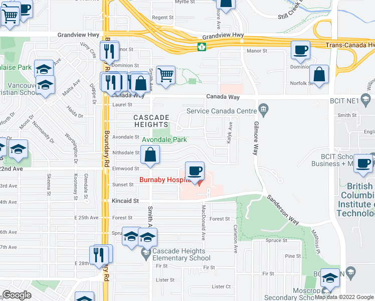 map of restaurants, bars, coffee shops, grocery stores, and more near 3950 Nithsdale Street in Burnaby