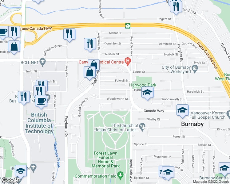 map of restaurants, bars, coffee shops, grocery stores, and more near 5030 Hardwick Street in Burnaby