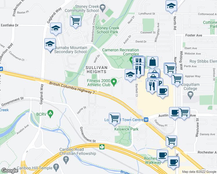 map of restaurants, bars, coffee shops, grocery stores, and more near 9280 Salish Court in Burnaby