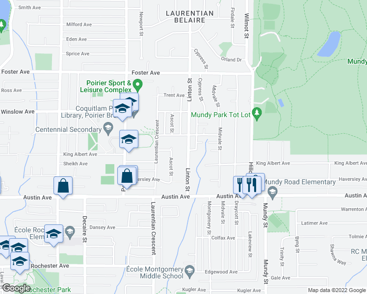 map of restaurants, bars, coffee shops, grocery stores, and more near 580 Linton Street in Coquitlam