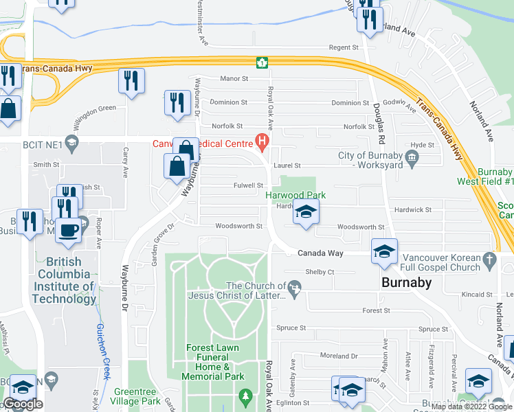map of restaurants, bars, coffee shops, grocery stores, and more near 5158 Hardwick Street in Burnaby