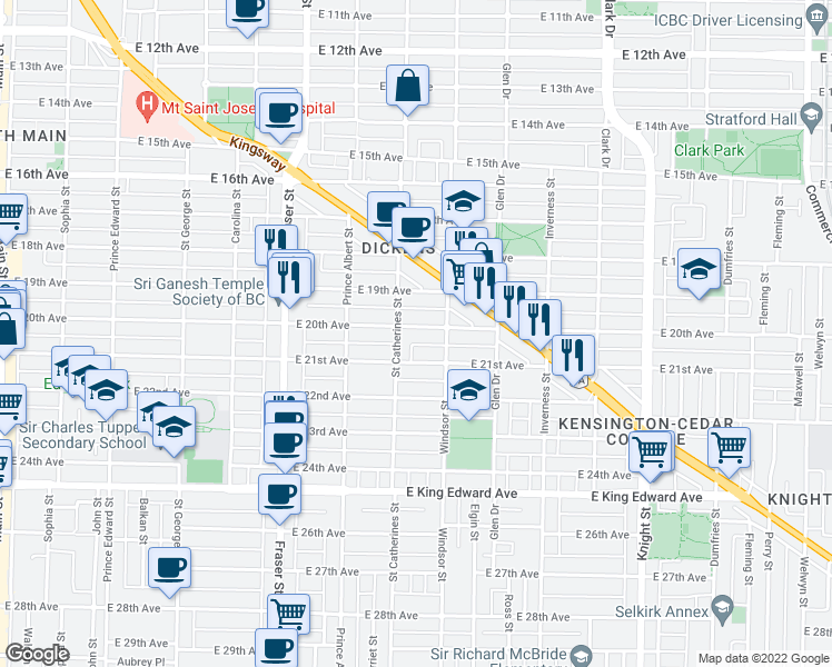 map of restaurants, bars, coffee shops, grocery stores, and more near 938 East 20th Avenue in Vancouver