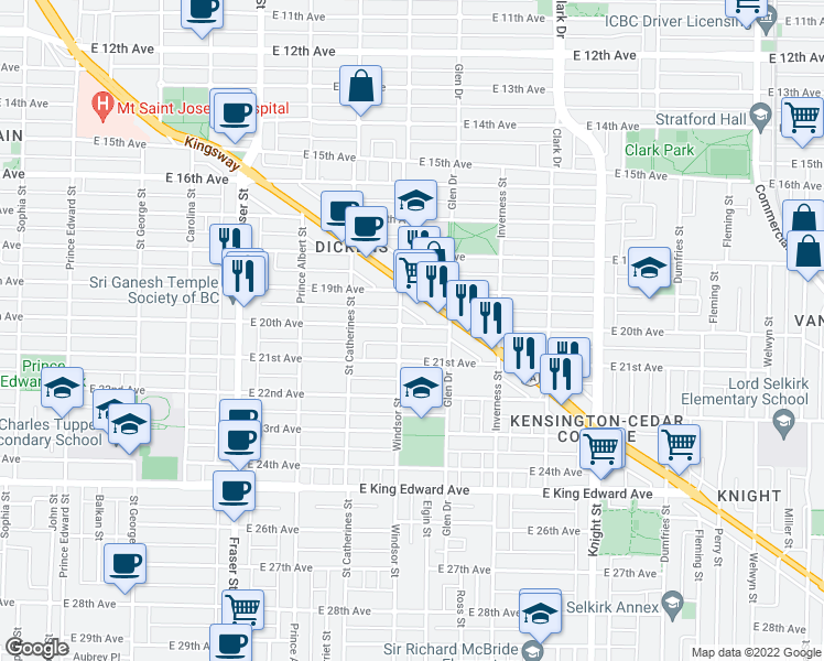 map of restaurants, bars, coffee shops, grocery stores, and more near 1012 East 20th Avenue in Vancouver