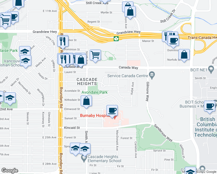 map of restaurants, bars, coffee shops, grocery stores, and more near 3950 Linwood Street in Burnaby