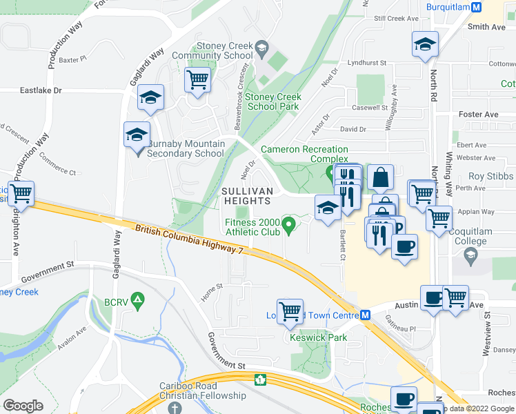 map of restaurants, bars, coffee shops, grocery stores, and more near 3420 Bell Avenue in Burnaby
