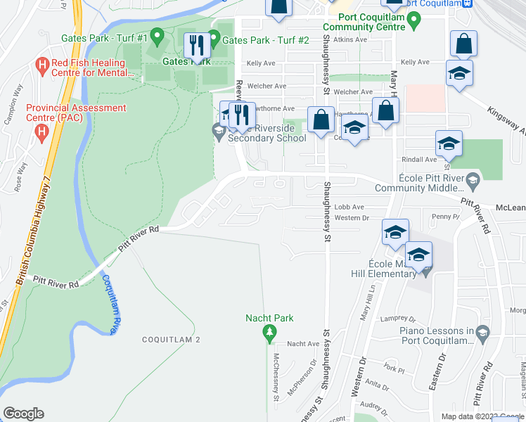 map of restaurants, bars, coffee shops, grocery stores, and more near 2450 Lobb Avenue in Port Coquitlam