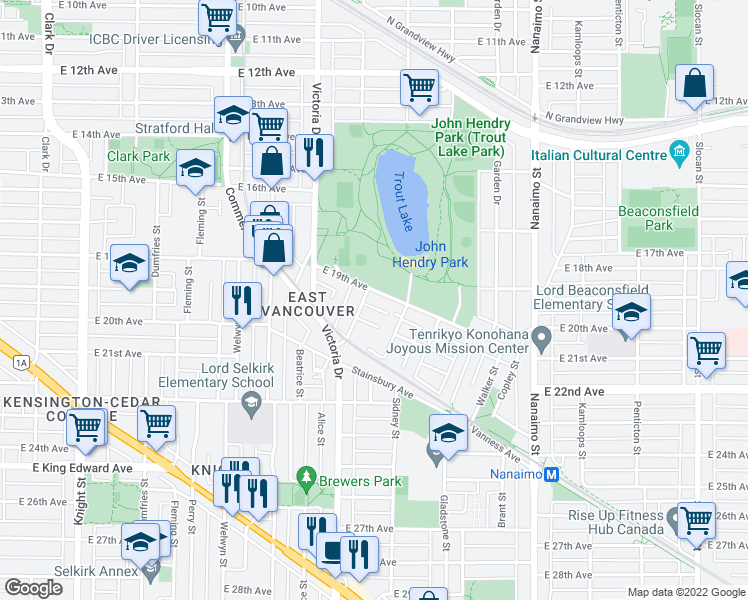 map of restaurants, bars, coffee shops, grocery stores, and more near 2018 East 19th Avenue in Vancouver