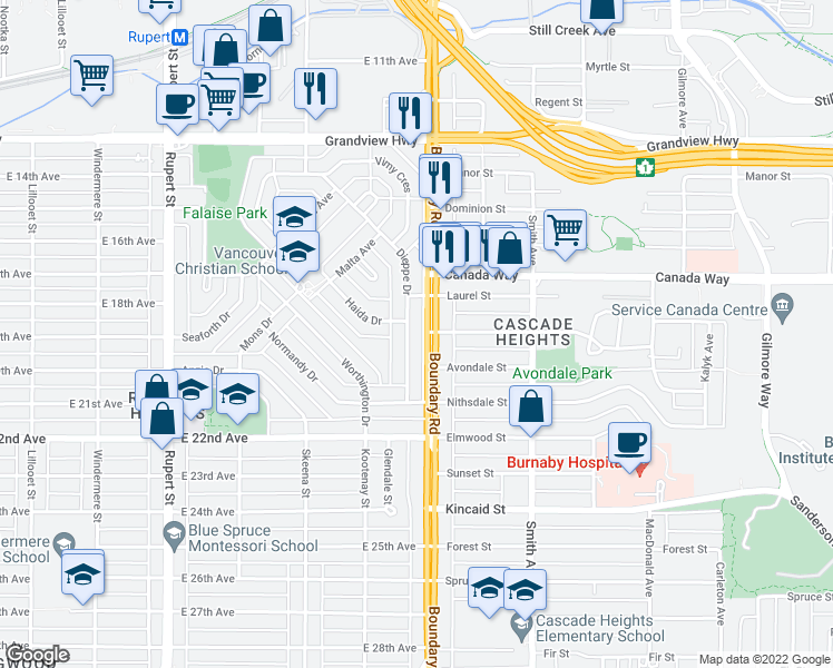map of restaurants, bars, coffee shops, grocery stores, and more near 3466 Dieppe Drive in Vancouver