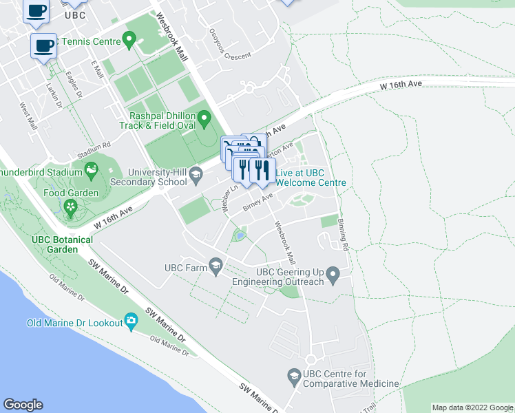 map of restaurants, bars, coffee shops, grocery stores, and more near 5928 Birney Avenue in Vancouver