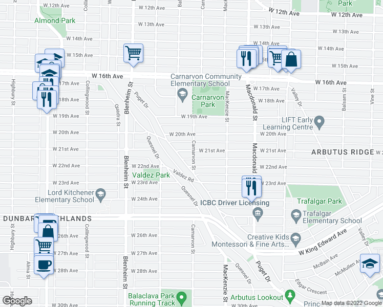 map of restaurants, bars, coffee shops, grocery stores, and more near 3008 West 21st Avenue in Vancouver
