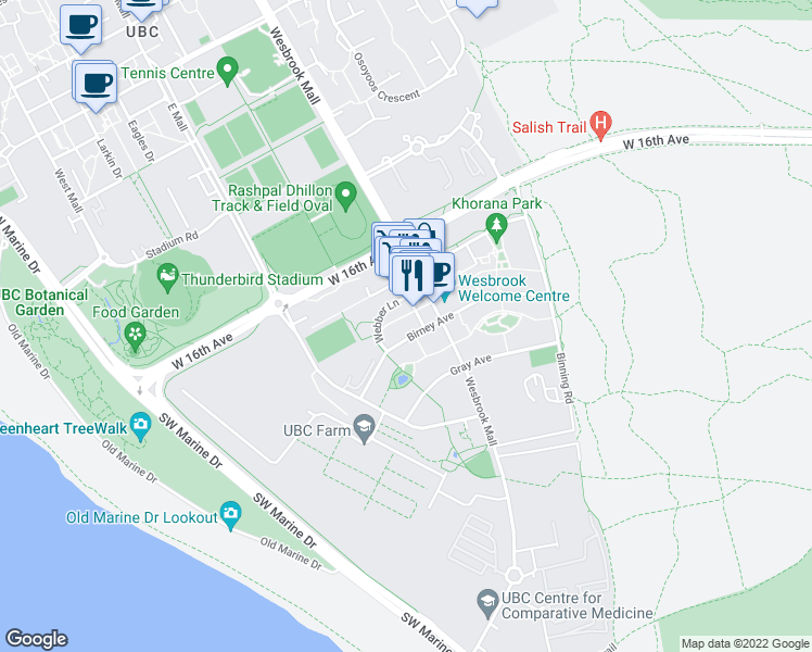 map of restaurants, bars, coffee shops, grocery stores, and more near 5955 Birney Avenue in Vancouver