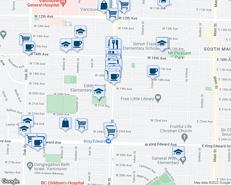 map of restaurants, bars, coffee shops, grocery stores, and more near 3540 Cambie Street in Vancouver