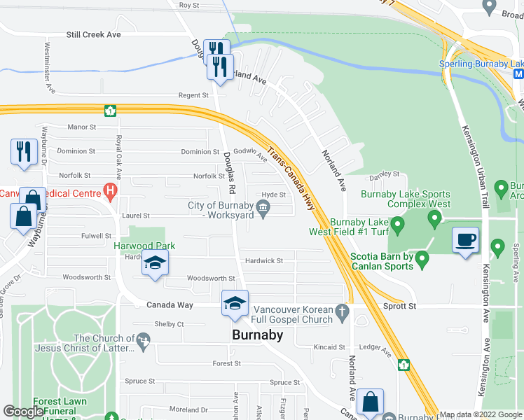 map of restaurants, bars, coffee shops, grocery stores, and more near 5715 Laurel Street in Burnaby