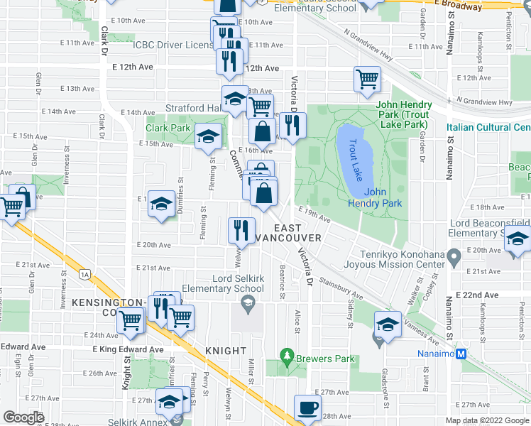 map of restaurants, bars, coffee shops, grocery stores, and more near 2250 Commercial Drive in Vancouver