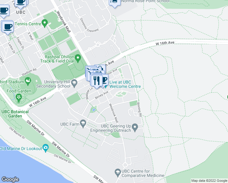 map of restaurants, bars, coffee shops, grocery stores, and more near 5788 Birney Avenue in Vancouver