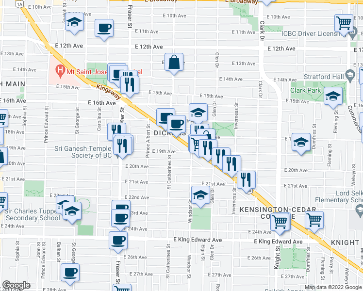 map of restaurants, bars, coffee shops, grocery stores, and more near 968 Kingsway in Vancouver