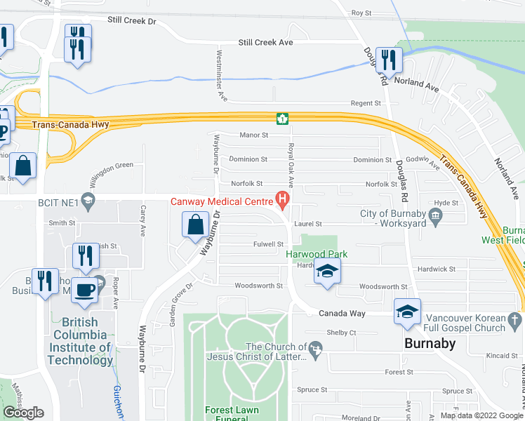 map of restaurants, bars, coffee shops, grocery stores, and more near 4670 Canada Way in Burnaby