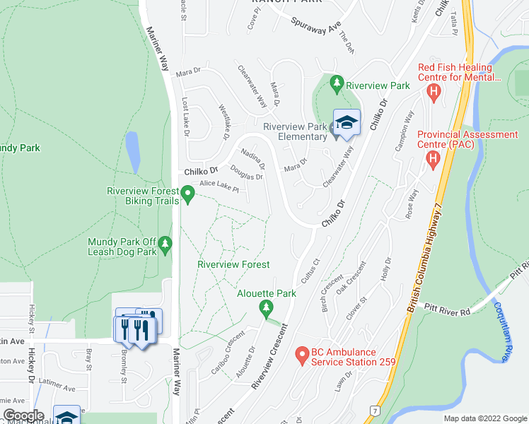 map of restaurants, bars, coffee shops, grocery stores, and more near 2770 Nadina Drive in Coquitlam