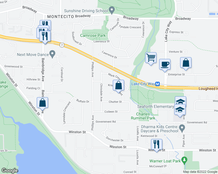 map of restaurants, bars, coffee shops, grocery stores, and more near 7440 Kraft Crescent in Burnaby
