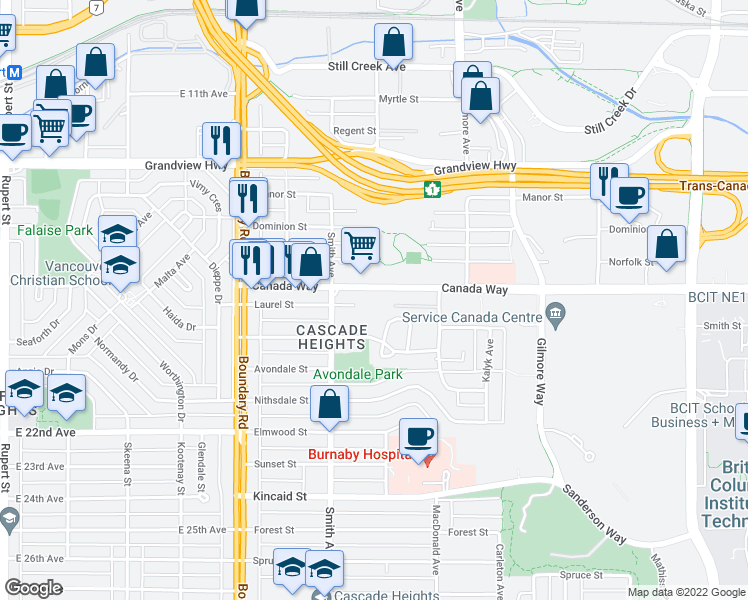 map of restaurants, bars, coffee shops, grocery stores, and more near 3890 Canada Way in Burnaby