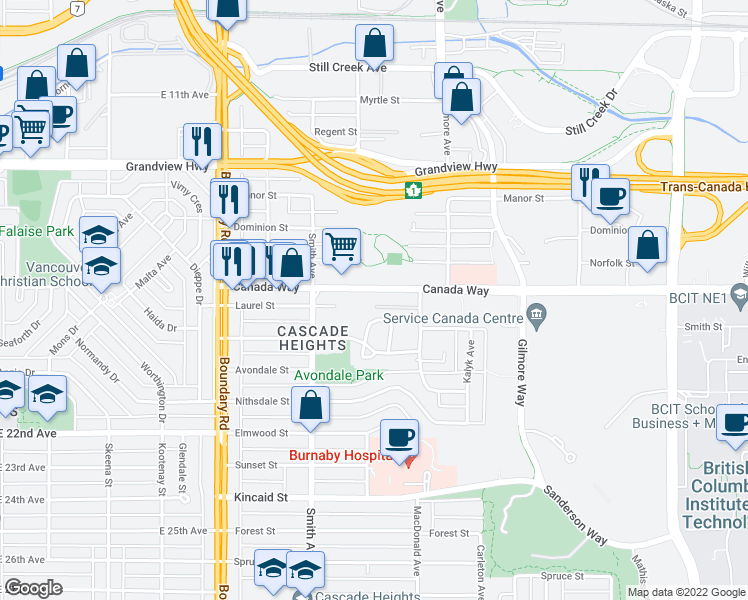 map of restaurants, bars, coffee shops, grocery stores, and more near 3960 Canada Way in Burnaby