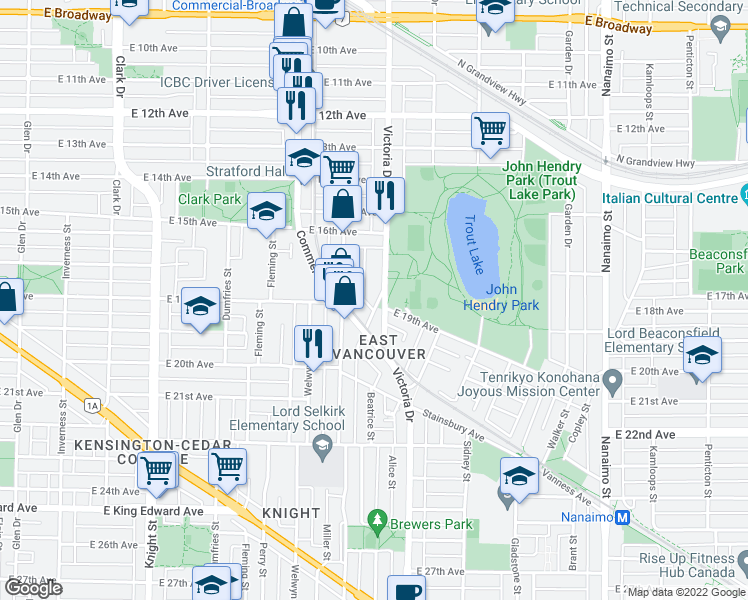 map of restaurants, bars, coffee shops, grocery stores, and more near 3443 Porter Street in Vancouver