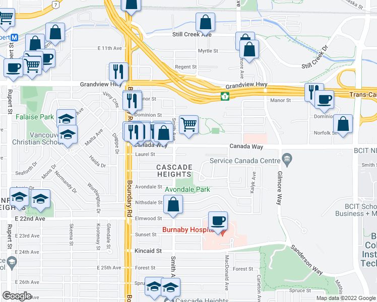 map of restaurants, bars, coffee shops, grocery stores, and more near 3883 Laurel Street in Burnaby