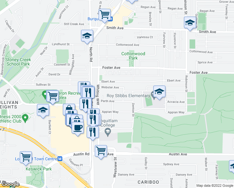 map of restaurants, bars, coffee shops, grocery stores, and more near 611 Bosworth Street in Coquitlam