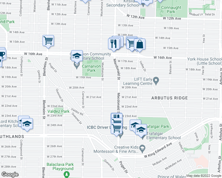 map of restaurants, bars, coffee shops, grocery stores, and more near 2848 West 20th Avenue in Vancouver
