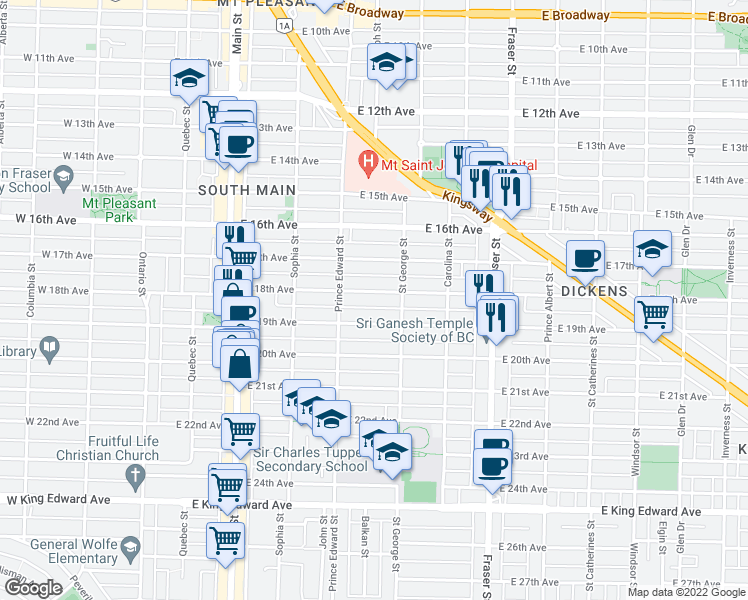map of restaurants, bars, coffee shops, grocery stores, and more near 456 East 18th Avenue in Vancouver