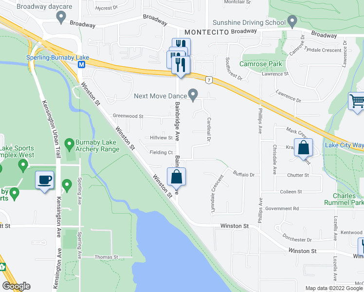 map of restaurants, bars, coffee shops, grocery stores, and more near 3328 Bainbridge Avenue in Burnaby