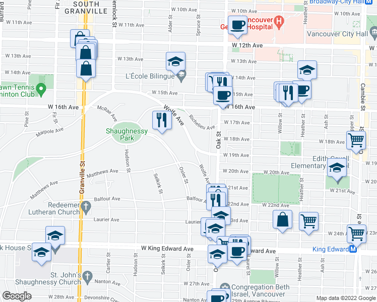map of restaurants, bars, coffee shops, grocery stores, and more near 1080 Wolfe Avenue in Vancouver