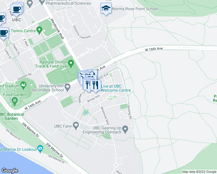 map of restaurants, bars, coffee shops, grocery stores, and more near 5779 Birney Avenue in Vancouver