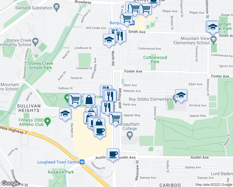 map of restaurants, bars, coffee shops, grocery stores, and more near 615 North Road in Coquitlam